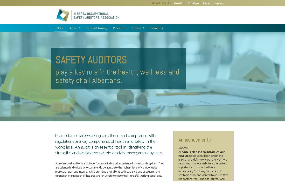 Website Redesign for Alberta Occupational Safety Auditors Association