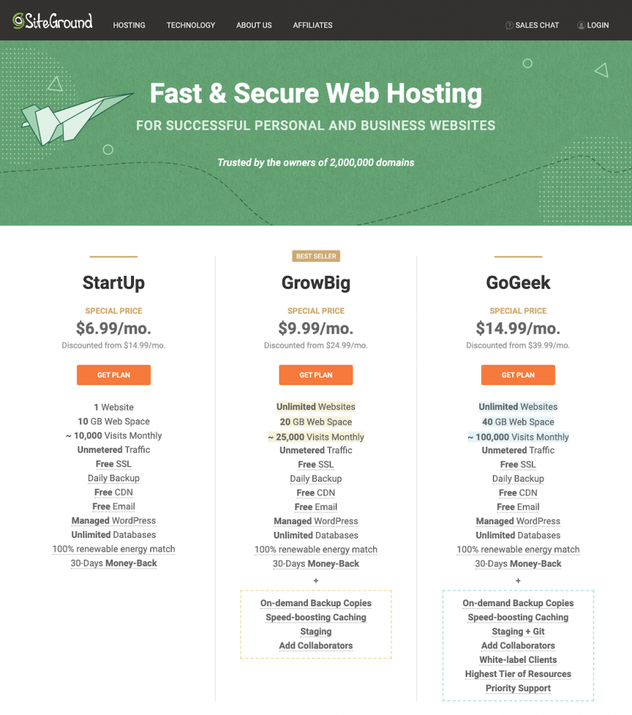 Step One: Select your SiteGround Hosting Plan