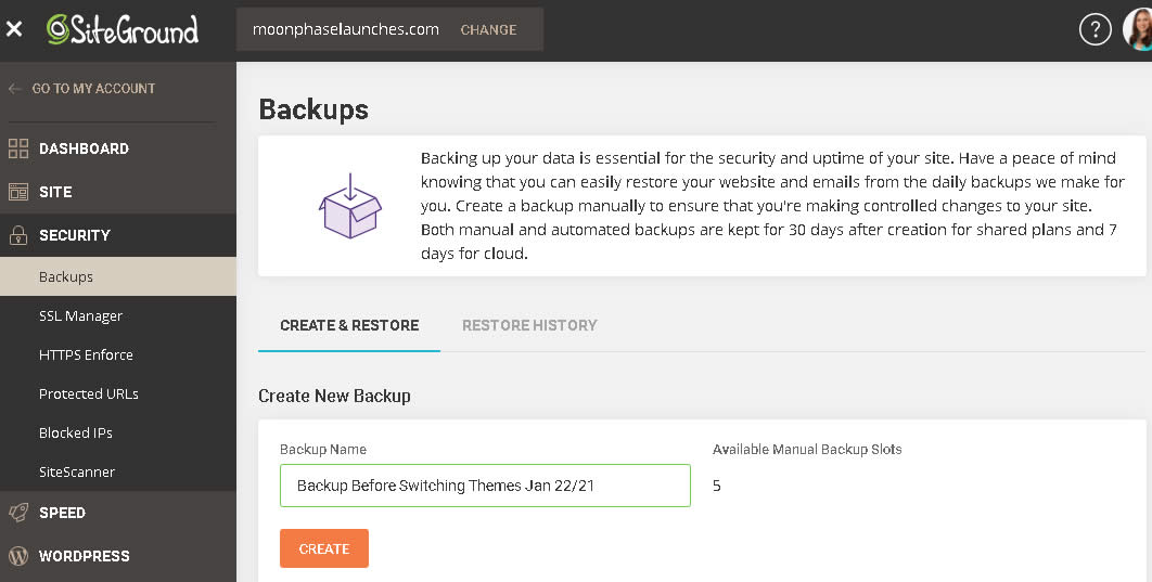 website backups are easy with SiteGround hosting
